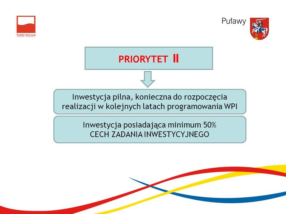 PRIORYTET II Inwestycja pilna, konieczna do rozpoczęcia realizacji w kolejnych latach programowania WPI Inwestycja posiadająca minimum 50% CECH ZADANI