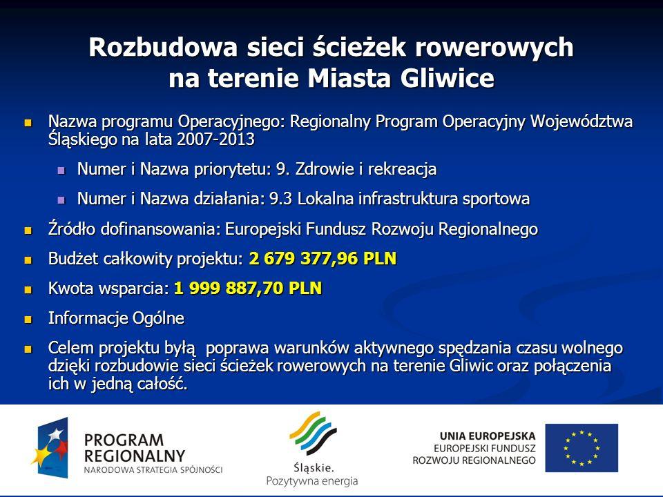 Rozbudowa sieci ścieżek rowerowych na terenie Miasta Gliwice Nazwa programu Operacyjnego: Regionalny Program Operacyjny Województwa Śląskiego na lata