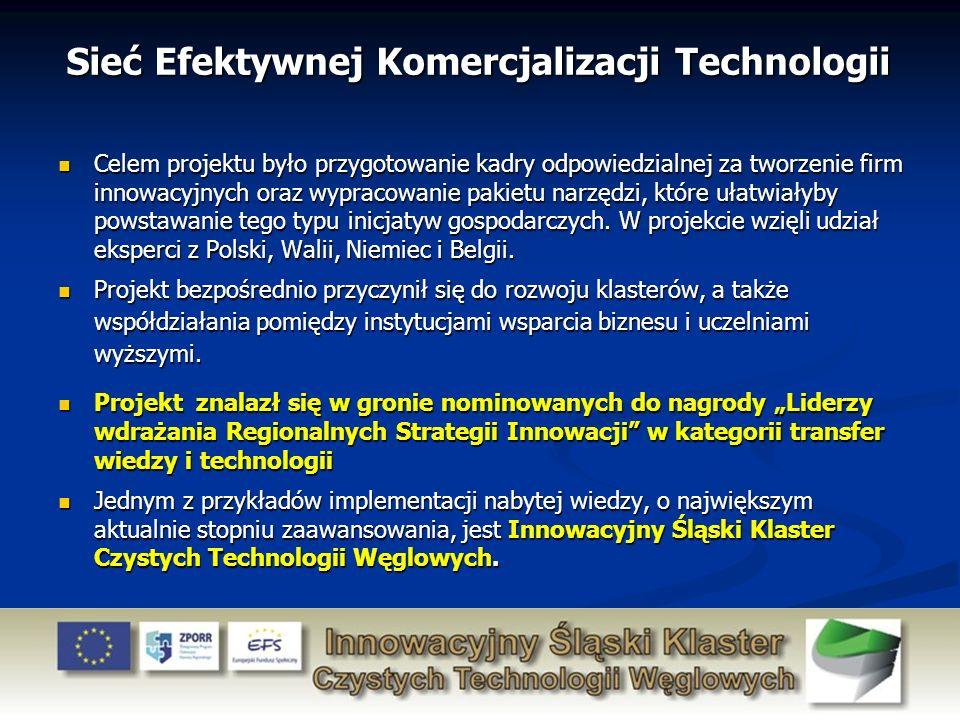Sieć Efektywnej Komercjalizacji Technologii Celem projektu było przygotowanie kadry odpowiedzialnej za tworzenie firm innowacyjnych oraz wypracowanie