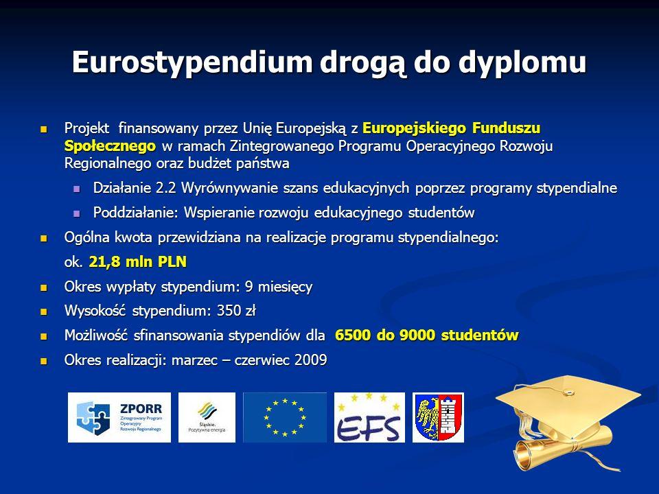 Eurostypendium drogą do dyplomu Projekt finansowany przez Unię Europejską z Europejskiego Funduszu Społecznego w ramach Zintegrowanego Programu Operac