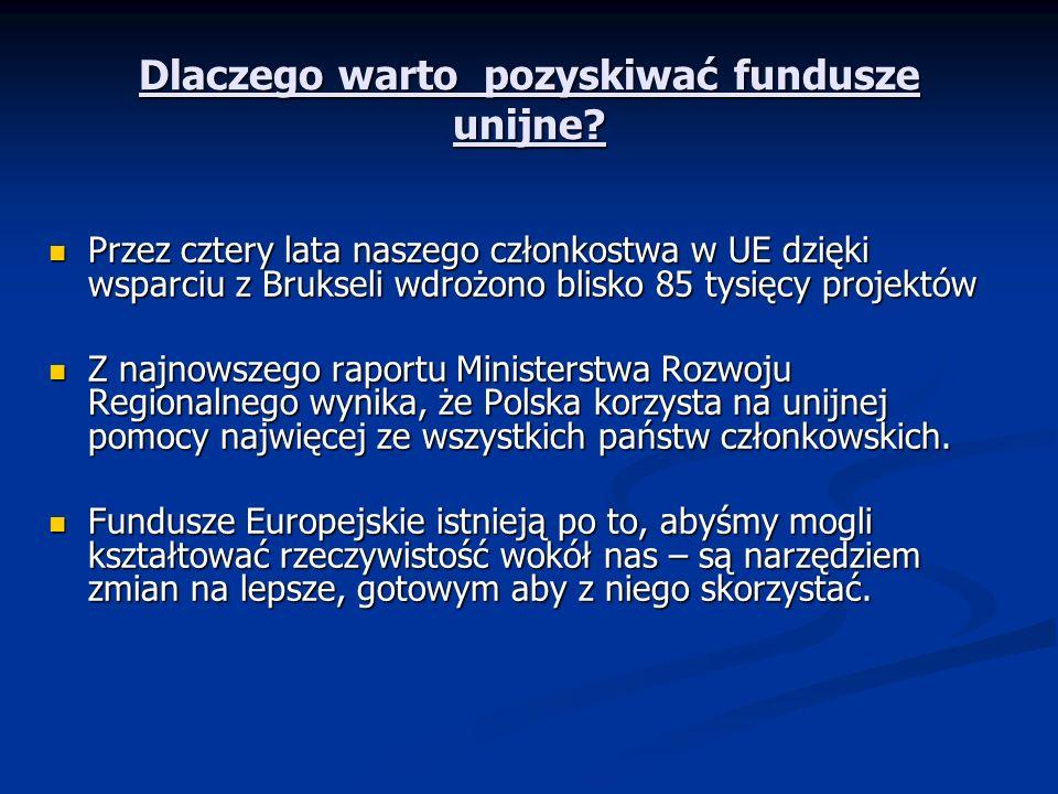 Dlaczego warto pozyskiwać fundusze unijne? Przez cztery lata naszego członkostwa w UE dzięki wsparciu z Brukseli wdrożono blisko 85 tysięcy projektów
