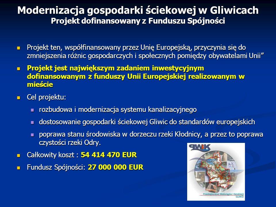 Modernizacja gospodarki ściekowej w Gliwicach Projekt dofinansowany z Funduszu Spójności Projekt ten, współfinansowany przez Unię Europejską, przyczyn