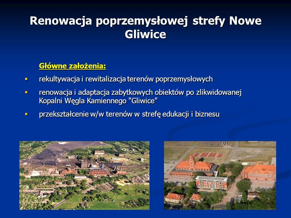 Renowacja poprzemysłowej strefy Nowe Gliwice Główne założenia: rekultywacja i rewitalizacja terenów poprzemysłowych rekultywacja i rewitalizacja teren