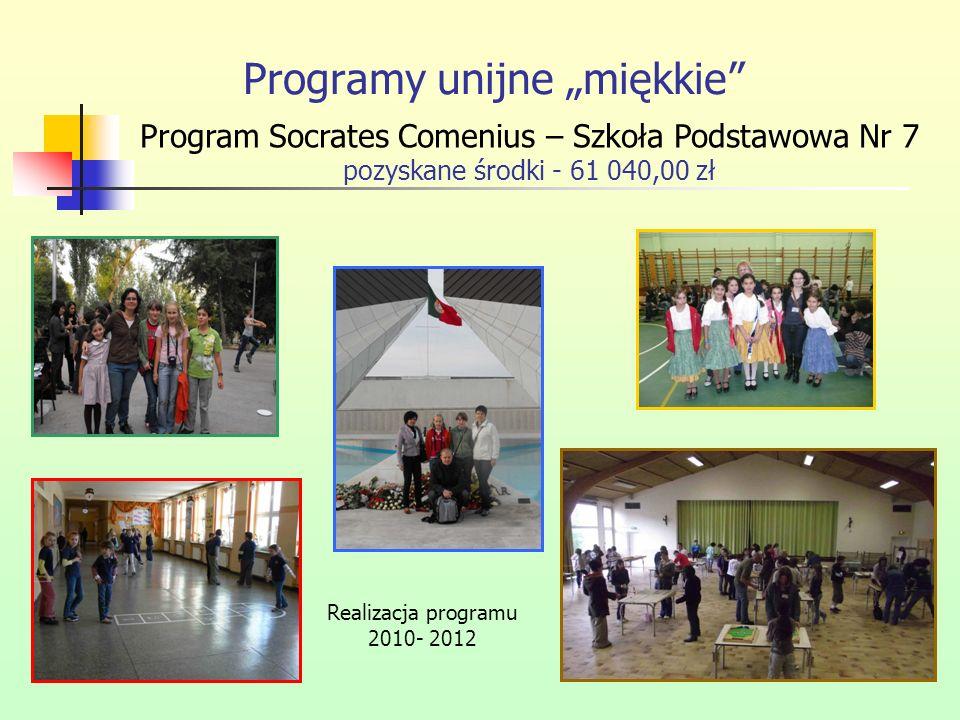 Programy unijne miękkie Program Socrates Comenius – Szkoła Podstawowa Nr 7 pozyskane środki - 61 040,00 zł Realizacja programu 2010- 2012
