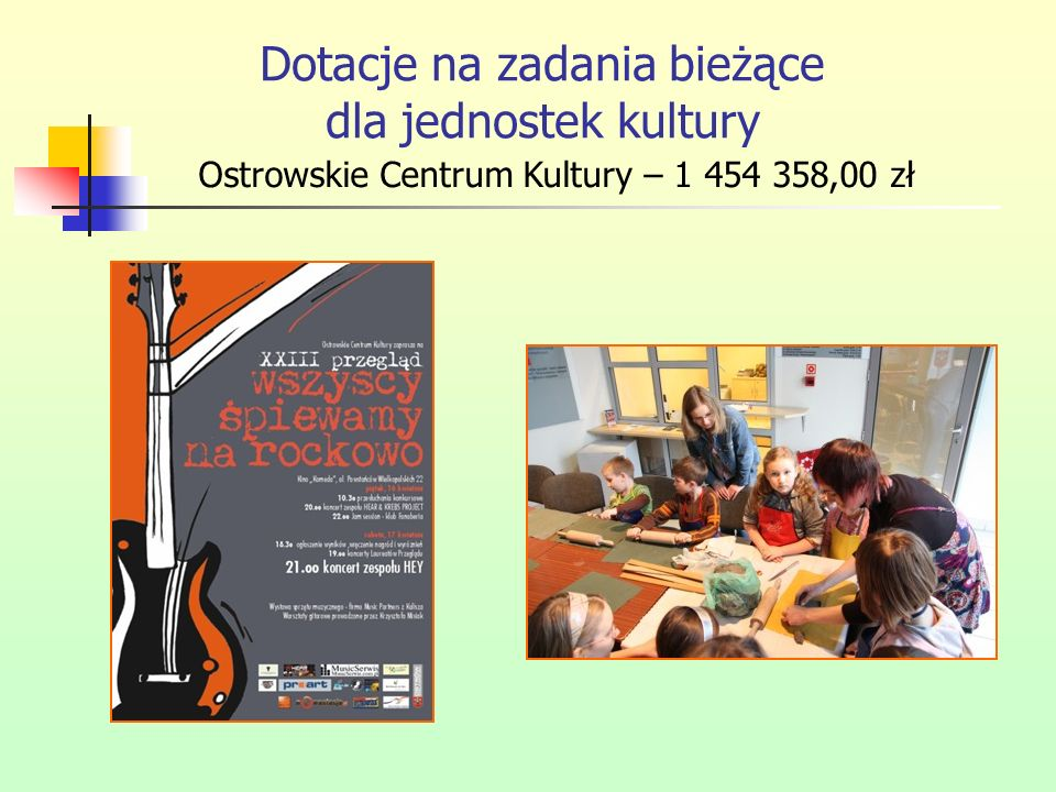Dotacje na zadania bieżące dla jednostek kultury Ostrowskie Centrum Kultury – 1 454 358,00 zł