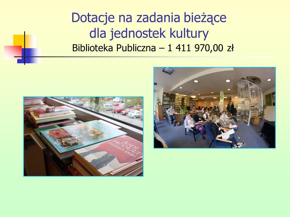 Dotacje na zadania bieżące dla jednostek kultury Biblioteka Publiczna – 1 411 970,00 zł