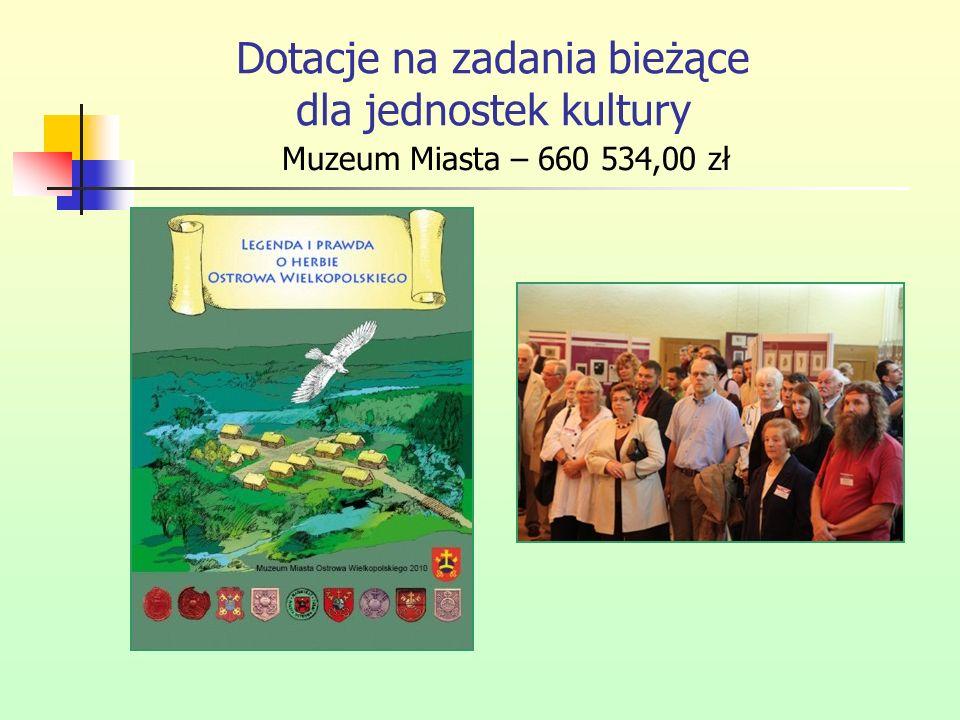 Dotacje na zadania bieżące dla jednostek kultury Muzeum Miasta – 660 534,00 zł