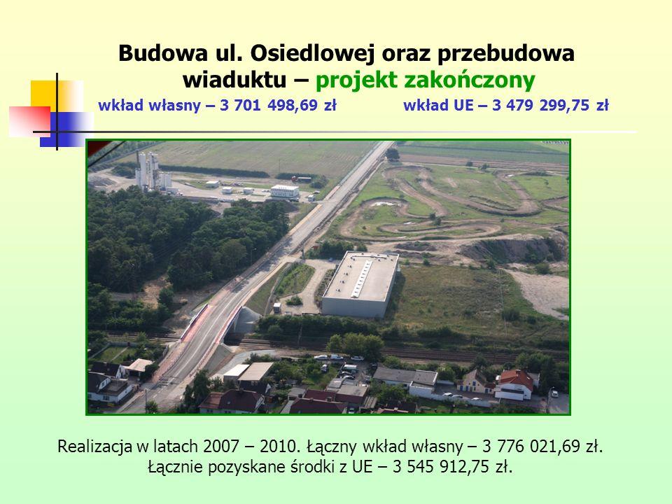 Budowa ul. Osiedlowej oraz przebudowa wiaduktu – projekt zakończony wkład własny – 3 701 498,69 złwkład UE – 3 479 299,75 zł Realizacja w latach 2007