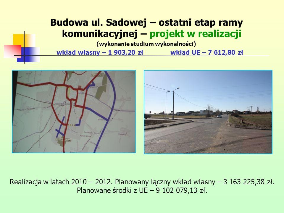 Budowa ul. Sadowej – ostatni etap ramy komunikacyjnej – projekt w realizacji (wykonanie studium wykonalności) wkład własny – 1 903,20 złwkład UE – 7 6