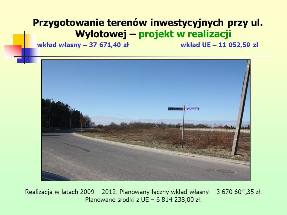 Przygotowanie terenów inwestycyjnych przy ul. Wylotowej – projekt w realizacji wkład własny – 37 671,40 złwkład UE – 11 052,59 zł Realizacja w latach