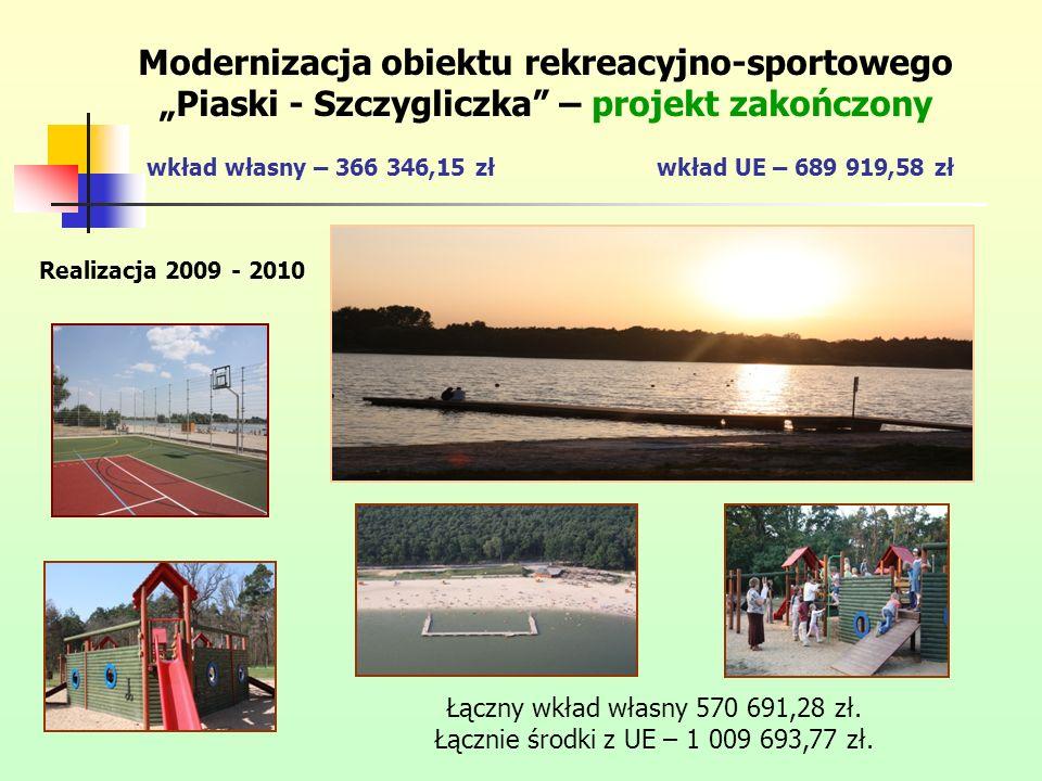 Modernizacja obiektu rekreacyjno-sportowego Piaski - Szczygliczka – projekt zakończony wkład własny – 366 346,15 złwkład UE – 689 919,58 zł Realizacja 2009 - 2010 Łączny wkład własny 570 691,28 zł.