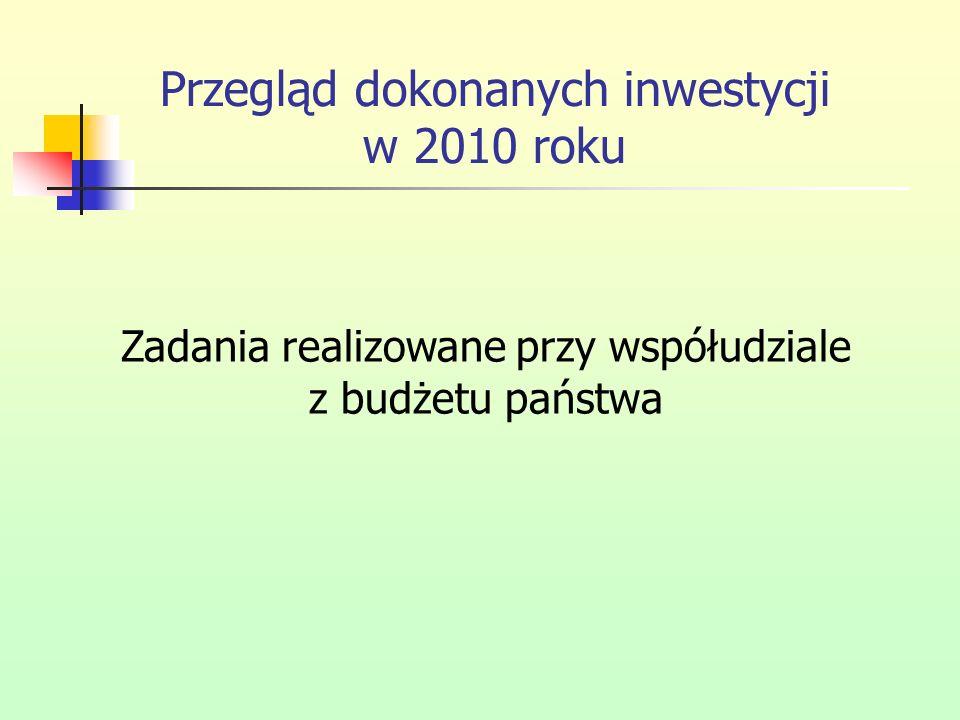 Przegląd dokonanych inwestycji w 2010 roku Zadania realizowane przy współudziale z budżetu państwa