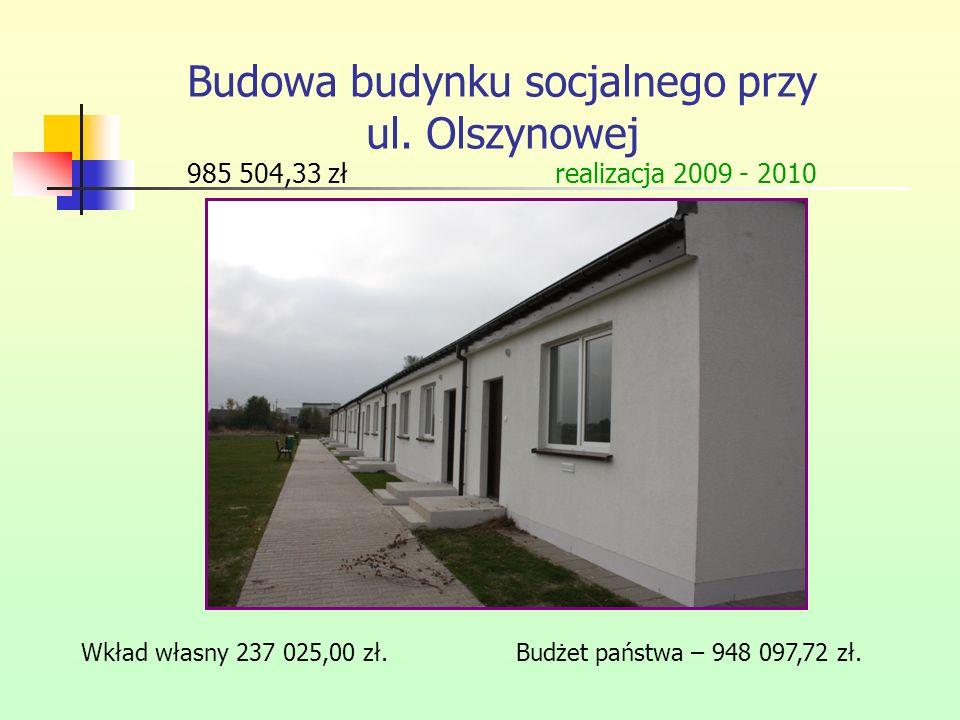 Budowa budynku socjalnego przy ul. Olszynowej 985 504,33 zł realizacja 2009 - 2010 Wkład własny 237 025,00 zł. Budżet państwa – 948 097,72 zł.