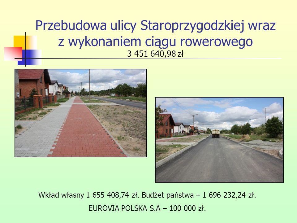 Przebudowa ulicy Staroprzygodzkiej wraz z wykonaniem ciągu rowerowego 3 451 640,98 zł Wkład własny 1 655 408,74 zł. Budżet państwa – 1 696 232,24 zł.