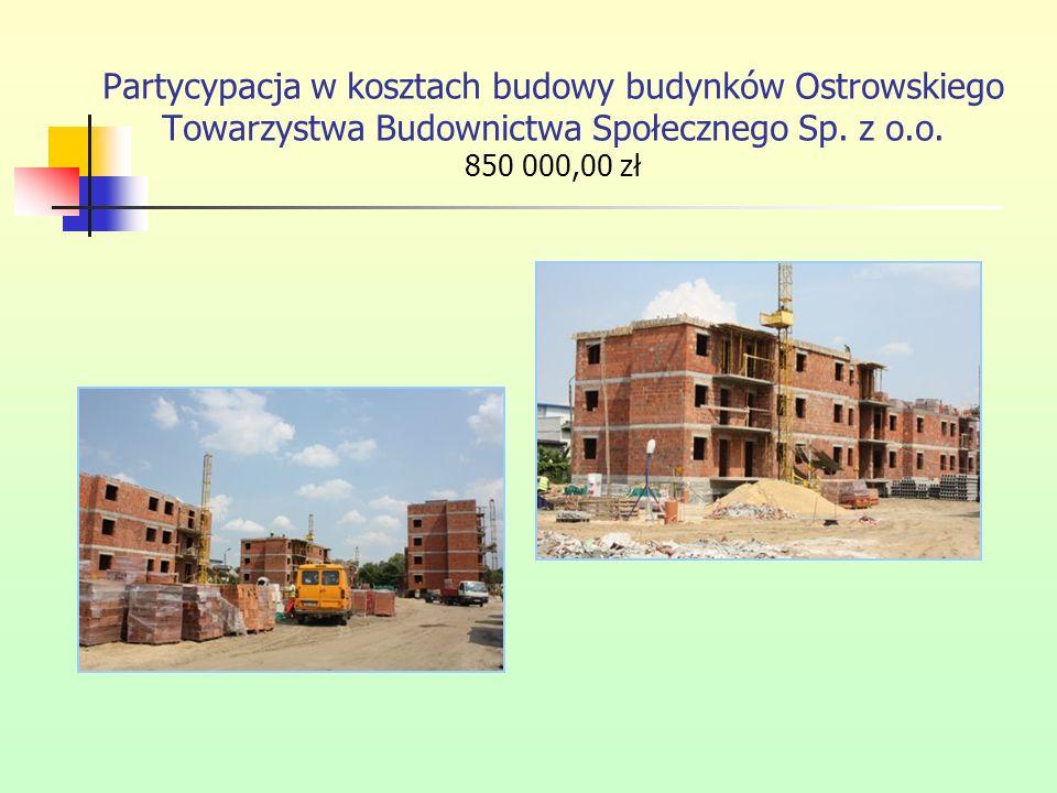 Partycypacja w kosztach budowy budynków Ostrowskiego Towarzystwa Budownictwa Społecznego Sp. z o.o. 850 000,00 zł