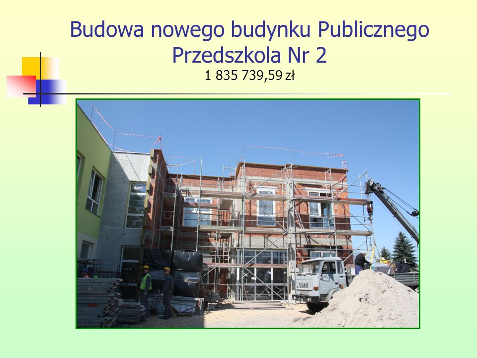 Budowa nowego budynku Publicznego Przedszkola Nr 2 1 835 739,59 zł