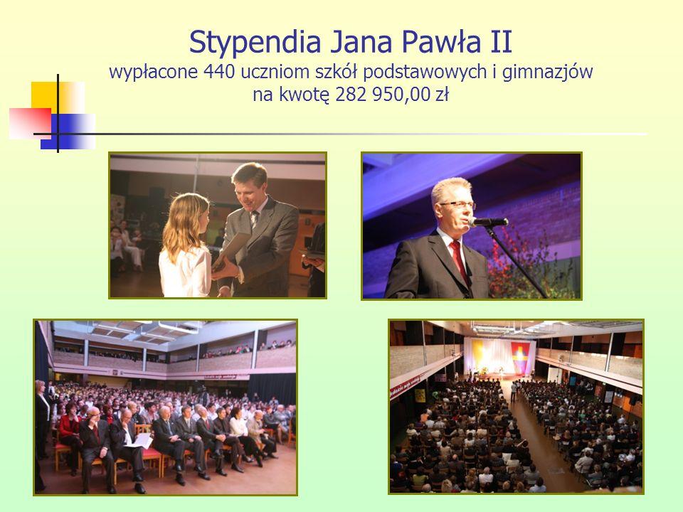 Stypendia Jana Pawła II wypłacone 440 uczniom szkół podstawowych i gimnazjów na kwotę 282 950,00 zł