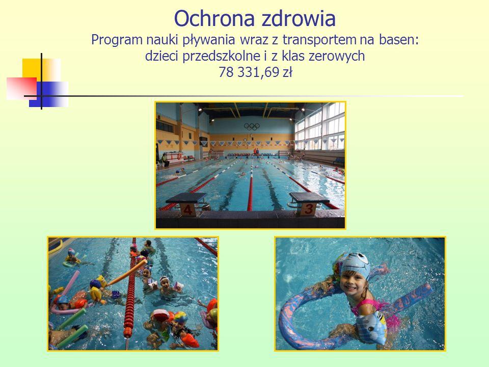 Ochrona zdrowia Program nauki pływania wraz z transportem na basen: dzieci przedszkolne i z klas zerowych 78 331,69 zł