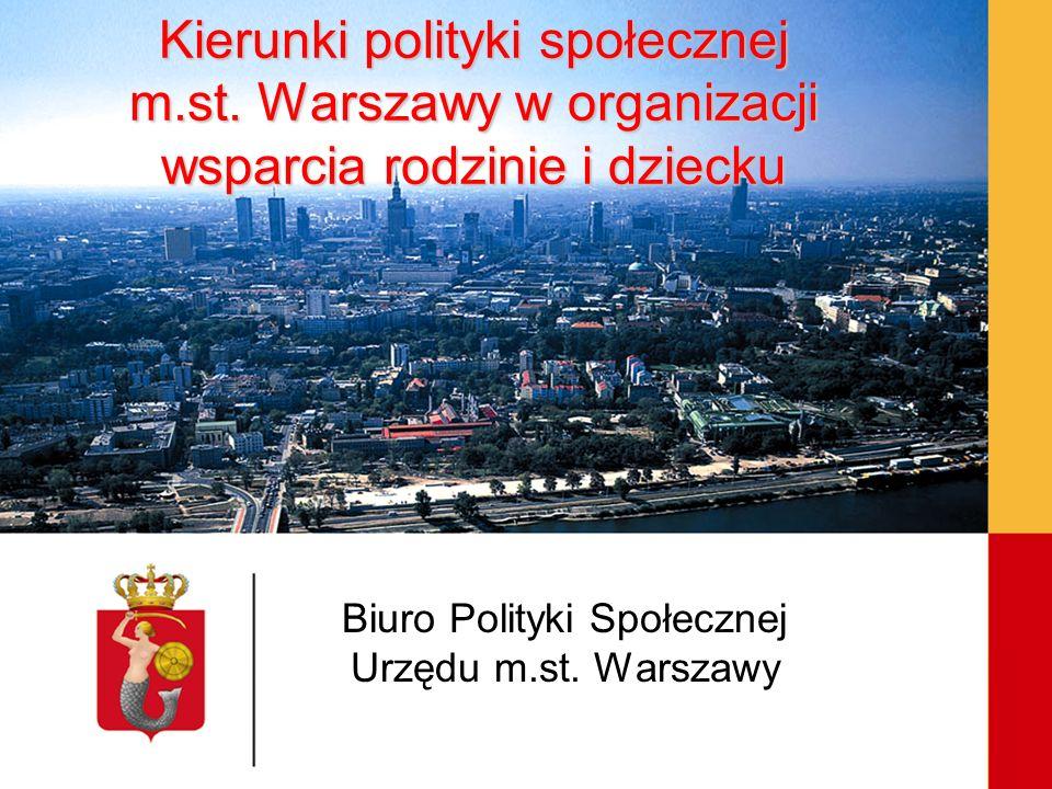 Kierunki polityki społecznej m.st. Warszawy w organizacji wsparcia rodzinie i dziecku Biuro Polityki Społecznej Urzędu m.st. Warszawy
