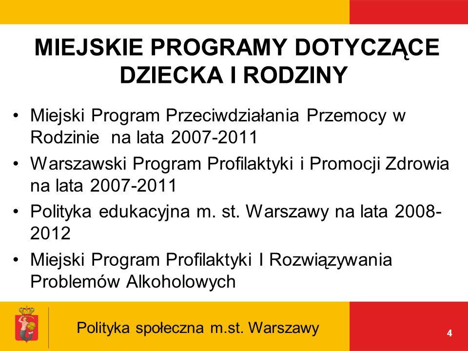 4 MIEJSKIE PROGRAMY DOTYCZĄCE DZIECKA I RODZINY Miejski Program Przeciwdziałania Przemocy w Rodzinie na lata 2007-2011 Warszawski Program Profilaktyki