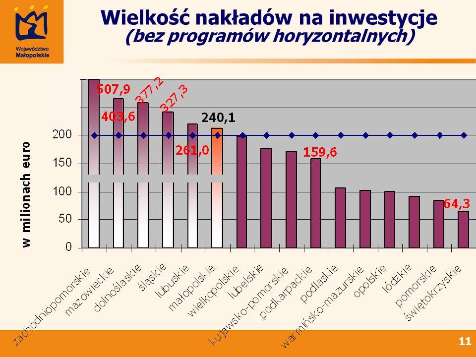 11 Wielkość nakładów na inwestycje (bez programów horyzontalnych)