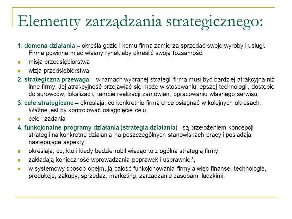Elementy zarządzania strategicznego: 1. domena działania – określa gdzie i komu firma zamierza sprzedać swoje wyroby i usługi. Firma powinna mieć włas