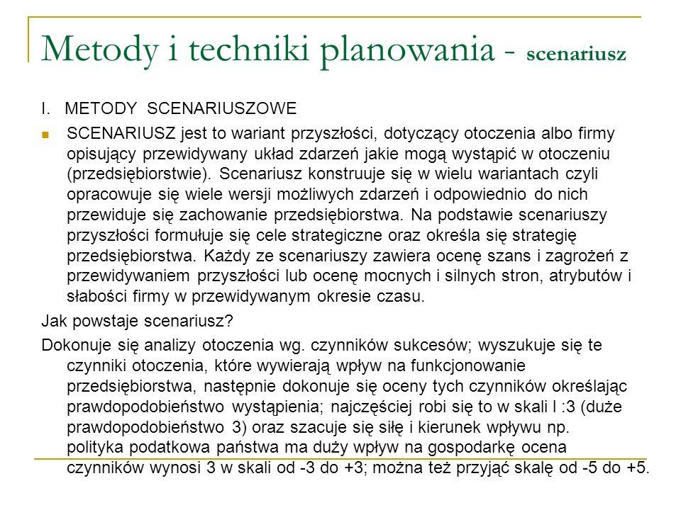 Metody i techniki planowania - scenariusz I. METODY SCENARIUSZOWE SCENARIUSZ jest to wariant przyszłości, dotyczący otoczenia albo firmy opisujący prz