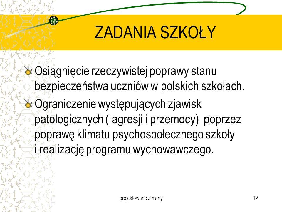 projektowane zmiany12 ZADANIA SZKOŁY Osiągnięcie rzeczywistej poprawy stanu bezpieczeństwa uczniów w polskich szkołach. Ograniczenie występujących zja