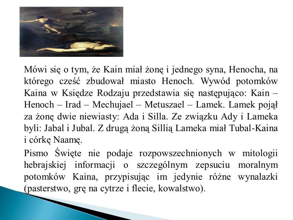 Mówi się o tym, że Kain miał żonę i jednego syna, Henocha, na którego cześć zbudował miasto Henoch. Wywód potomków Kaina w Księdze Rodzaju przedstawia