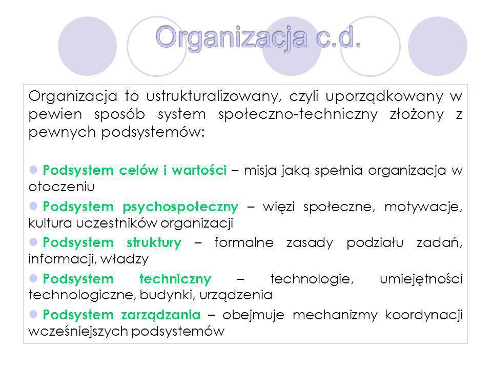 Organizacja to ustrukturalizowany, czyli uporządkowany w pewien sposób system społeczno-techniczny złożony z pewnych podsystemów: Podsystem celów i wa