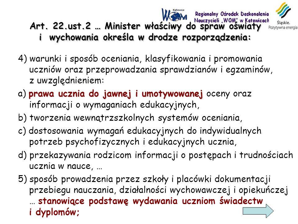 Art. 22.ust.2 … Minister właściwy do spraw oświaty i wychowania określa w drodze rozporządzenia: 4) warunki i sposób oceniania, klasyfikowania i promo