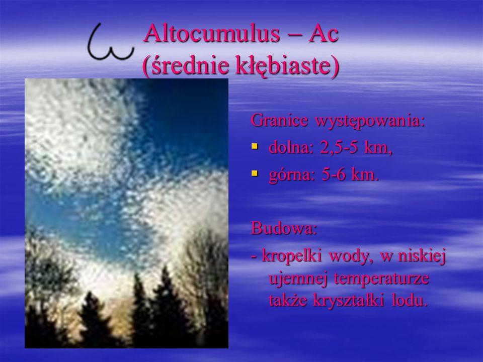 Altocumulus – Ac (średnie kłębiaste) Granice występowania: dolna: 2,5-5 km, dolna: 2,5-5 km, górna: 5-6 km. górna: 5-6 km.Budowa: - kropelki wody, w n