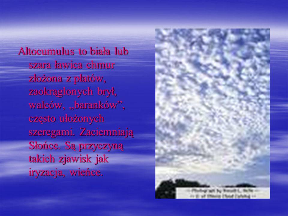 Altocumulus to biała lub szara ławica chmur złożona z płatów, zaokrąglonych brył, walców, baranków, często ułożonych szeregami. Zaciemniają Słońce. Są