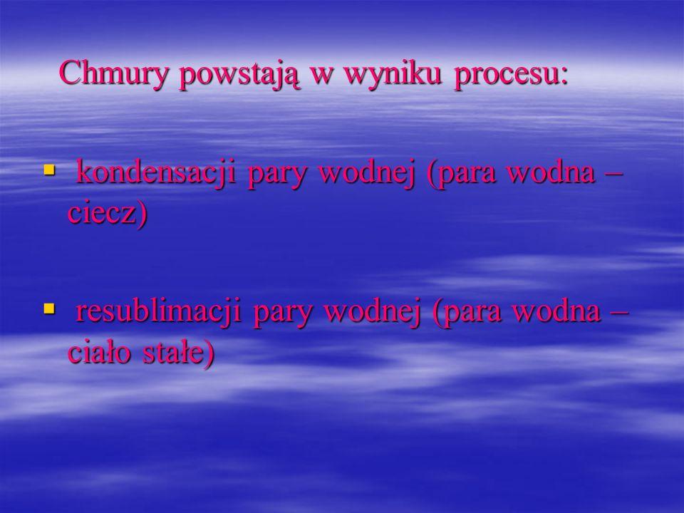 Chmury powstają w wyniku procesu: Chmury powstają w wyniku procesu: kondensacji pary wodnej (para wodna – ciecz) kondensacji pary wodnej (para wodna –