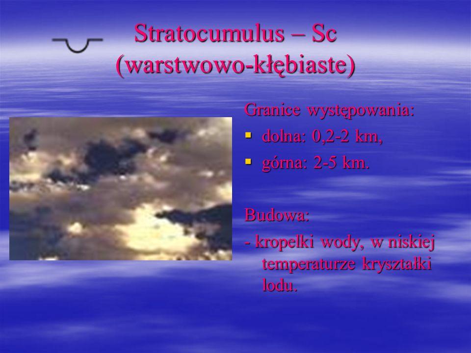 Stratocumulus – Sc (warstwowo-kłębiaste) Granice występowania: dolna: 0,2-2 km, dolna: 0,2-2 km, górna: 2-5 km. górna: 2-5 km.Budowa: - kropelki wody,