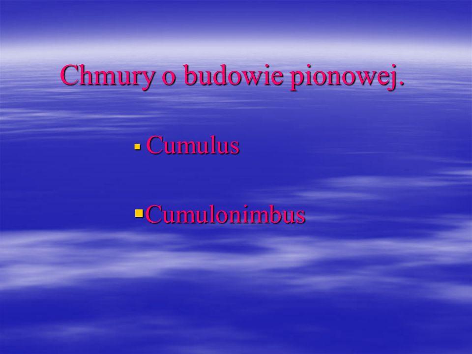 Chmury o budowie pionowej. Cumulus Cumulus Cumulonimbus Cumulonimbus