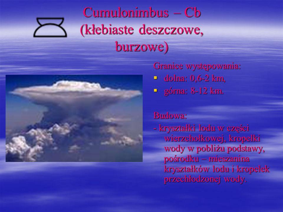 Cumulonimbus – Cb (kłebiaste deszczowe, burzowe) Granice występowania: dolna: 0,6-2 km, dolna: 0,6-2 km, górna: 8-12 km. górna: 8-12 km.Budowa: - krys
