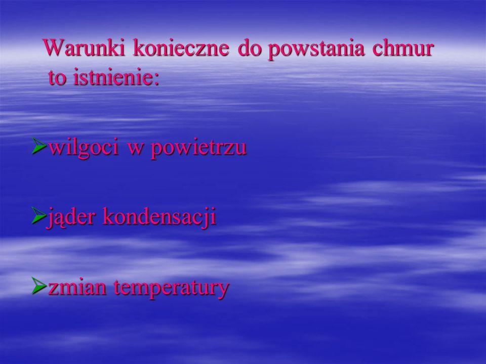 Warunki konieczne do powstania chmur to istnienie: Warunki konieczne do powstania chmur to istnienie: wilgoci w powietrzu wilgoci w powietrzu jąder ko