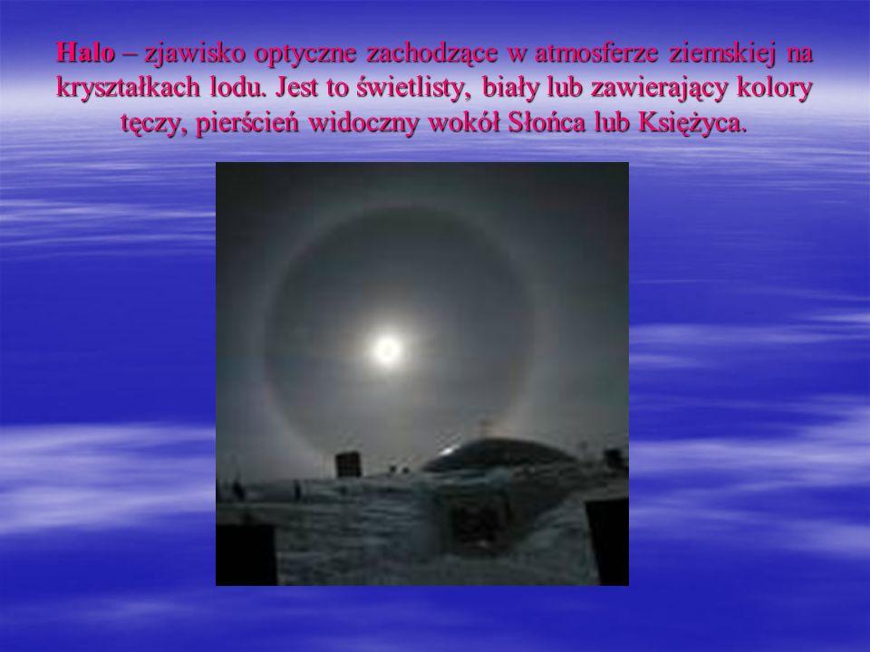 Halo – zjawisko optyczne zachodzące w atmosferze ziemskiej na kryształkach lodu. Jest to świetlisty, biały lub zawierający kolory tęczy, pierścień wid