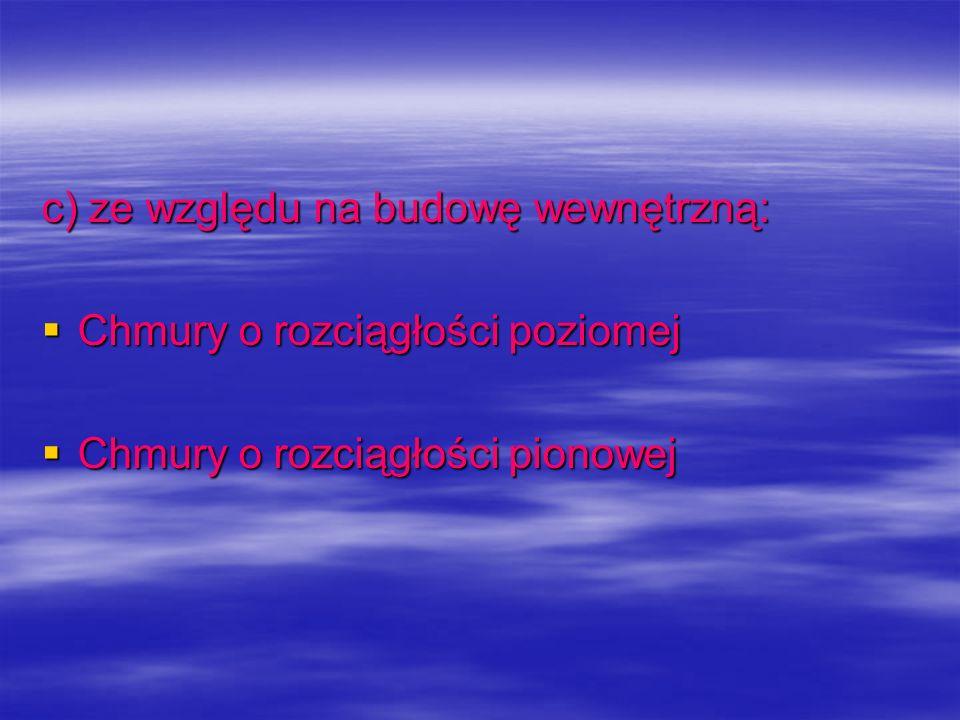 c) ze względu na budowę wewnętrzną: Chmury o rozciągłości poziomej Chmury o rozciągłości poziomej Chmury o rozciągłości pionowej Chmury o rozciągłości