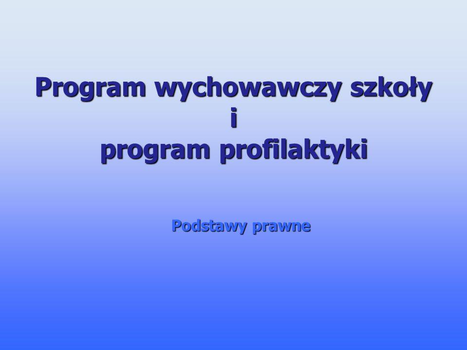 Program wychowawczy szkoły i program profilaktyki Podstawy prawne