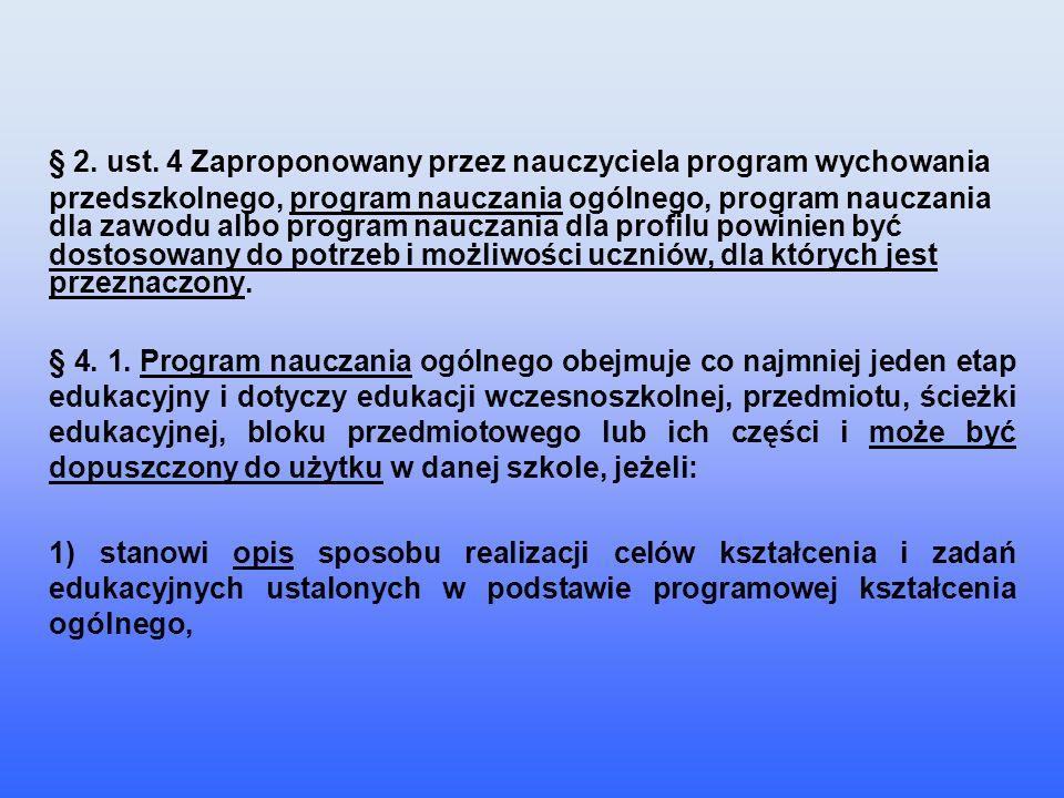 § 2. ust. 4 Zaproponowany przez nauczyciela program wychowania przedszkolnego, program nauczania ogólnego, program nauczania dla zawodu albo program n