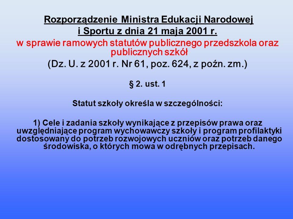 Rozporządzenie Ministra Edukacji Narodowej i Sportu z dnia 21 maja 2001 r. w sprawie ramowych statutów publicznego przedszkola oraz publicznych szkół