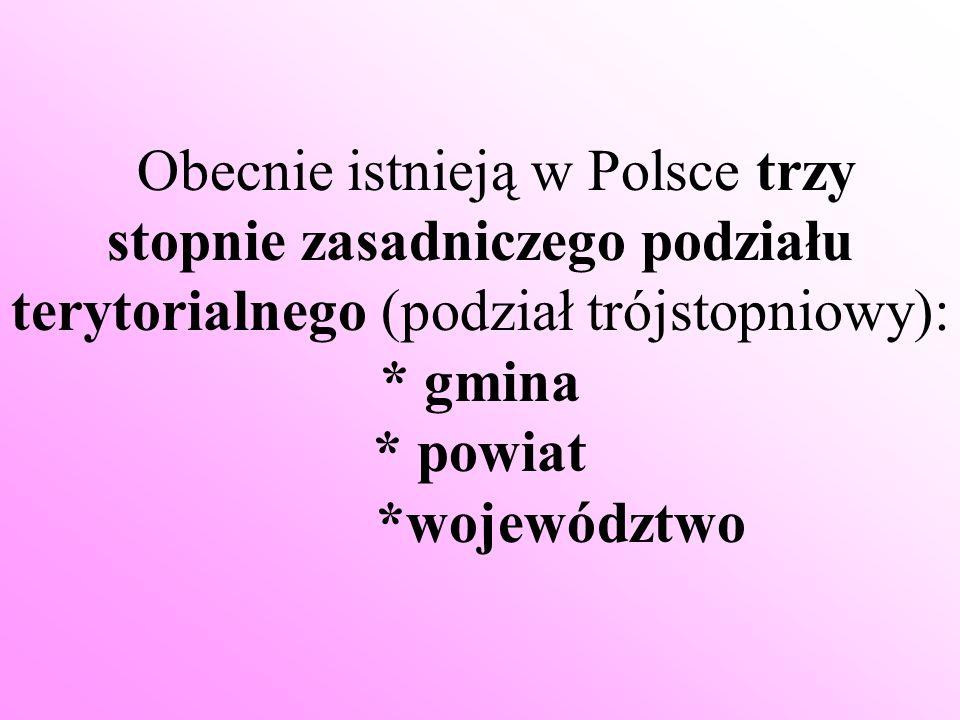 Obecnie istnieją w Polsce trzy stopnie zasadniczego podziału terytorialnego (podział trójstopniowy): * gmina * powiat *województwo