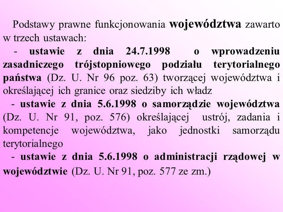 Podstawy prawne funkcjonowania województwa zawarto w trzech ustawach: - ustawie z dnia 24.7.1998 o wprowadzeniu zasadniczego trójstopniowego podziału
