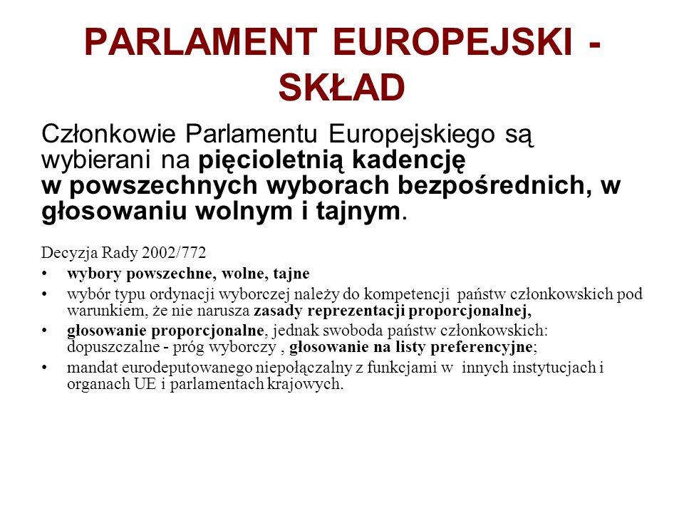 PARLAMENT EUROPEJSKI - SKŁAD Członkowie Parlamentu Europejskiego są wybierani na pięcioletnią kadencję w powszechnych wyborach bezpośrednich, w głosow