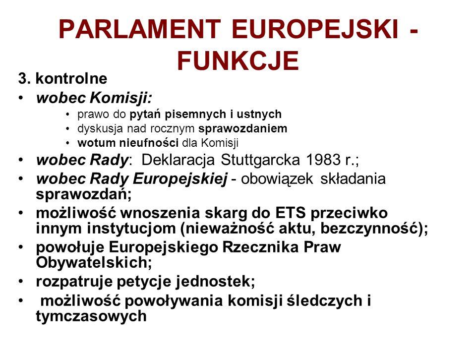 PARLAMENT EUROPEJSKI - FUNKCJE 3. kontrolne wobec Komisji: prawo do pytań pisemnych i ustnych dyskusja nad rocznym sprawozdaniem wotum nieufności dla