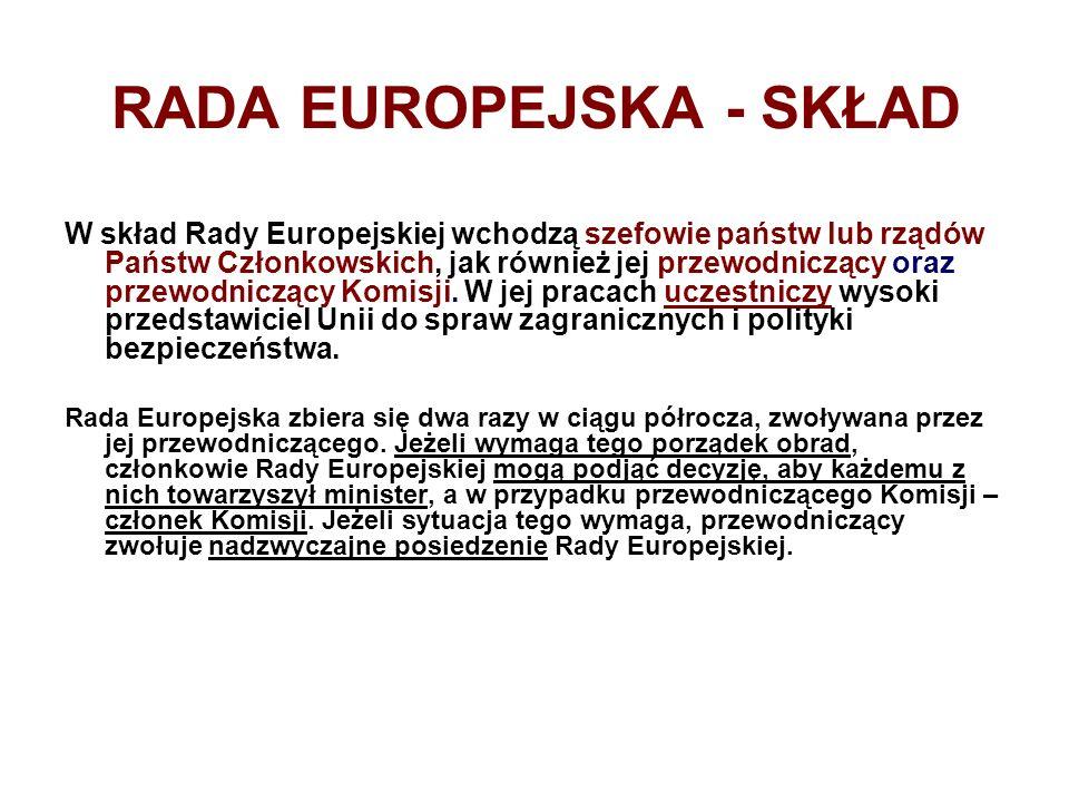 RADA EUROPEJSKA - SKŁAD W skład Rady Europejskiej wchodzą szefowie państw lub rządów Państw Członkowskich, jak również jej przewodniczący oraz przewod