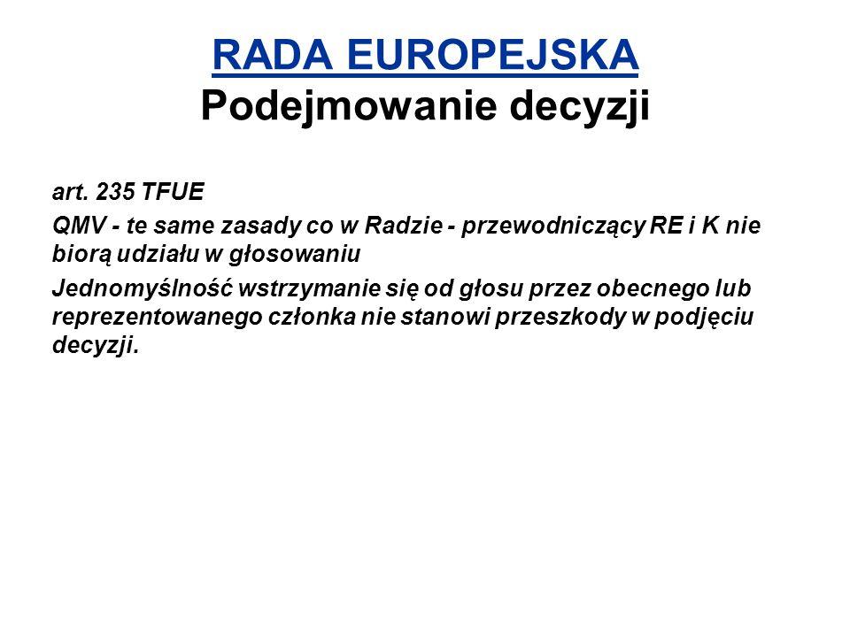RADA EUROPEJSKA Podejmowanie decyzji art. 235 TFUE QMV - te same zasady co w Radzie - przewodniczący RE i K nie biorą udziału w głosowaniu Jednomyślno