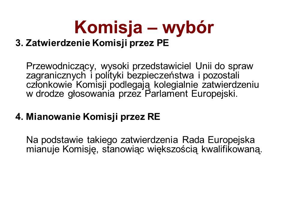 Komisja – wybór 3. Zatwierdzenie Komisji przez PE Przewodniczący, wysoki przedstawiciel Unii do spraw zagranicznych i polityki bezpieczeństwa i pozost
